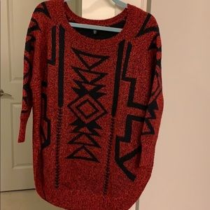 Red and black pattern sweater